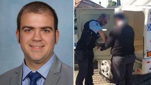 Alex Simpson was arrested on the grounds of Trinity Grammar in Summer Hill, in Sydney's inner-west yesterday.
