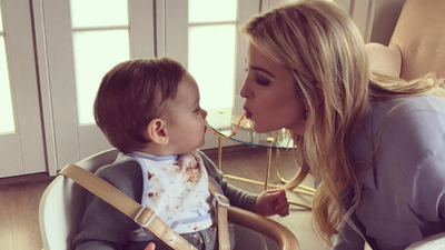 Ivanka and baby Theodore enjoyed cake but beforehand they made sure to share a string of spaghetti. It's a family tradition that is thought to encourage good luck, she revealed on Instagram.