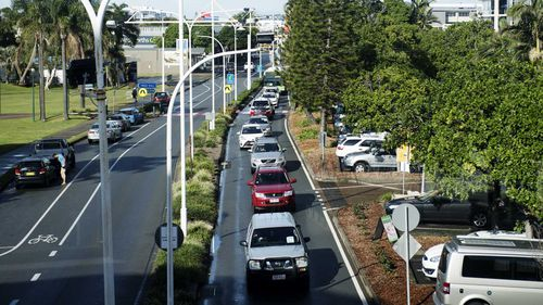 Traffic banked up along Wharf St, Coolangatta on the NSW-Queensland border.