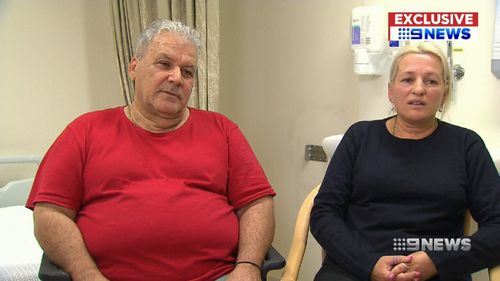 Alphaeus' parents Michael and Athena spent the day at their son's bedside. (9NEWS)
