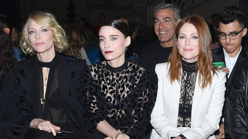 Cate Blanchett, Rooney Mara and Julieanne Moore - front row stars. Image: Getty.