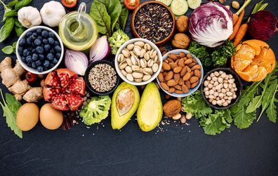 A mix of nuts, fruits, seeds and vegetables make-up a healthy diet.