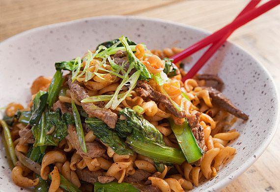 Jerry Mai's nui xao bo stir-fry pasta and beef