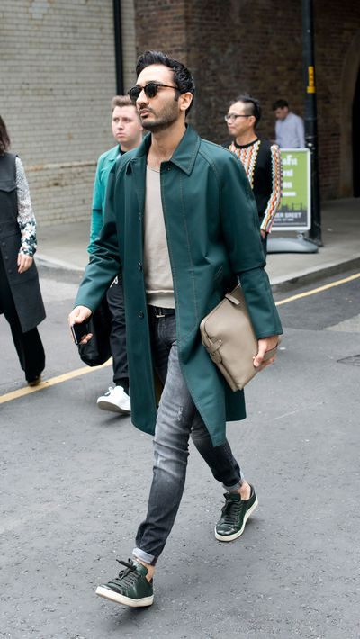 <p>This hard working coat and its matching kicks are a lesson in how to nail the bottle green trend.</p>