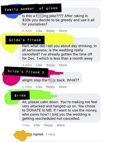Bride cancels wedding after donations of AU $43,000 reddit thread 4
