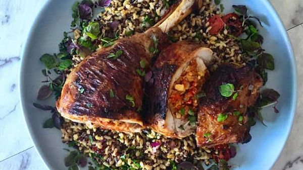 Will and Steve's chorizo and walnut stuffed turkey leg with quinoa salad