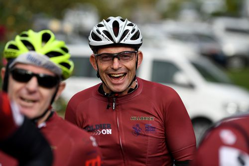 Tony Abbott is seen during the Pollie Pedal Bike Ride in Warragul, Victoria, today. (AAP)