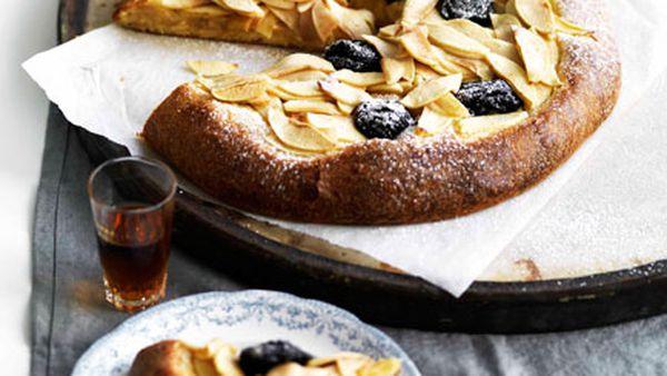 Apple and prune brioche tart