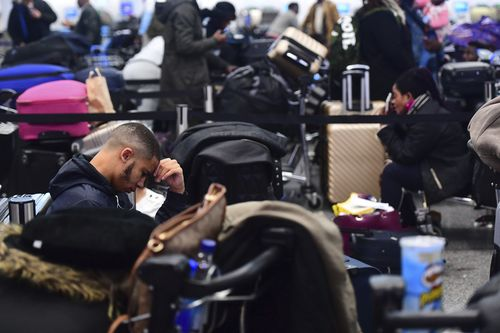 Passengers were stranded at Gatwick airport, as the airport remained closed.