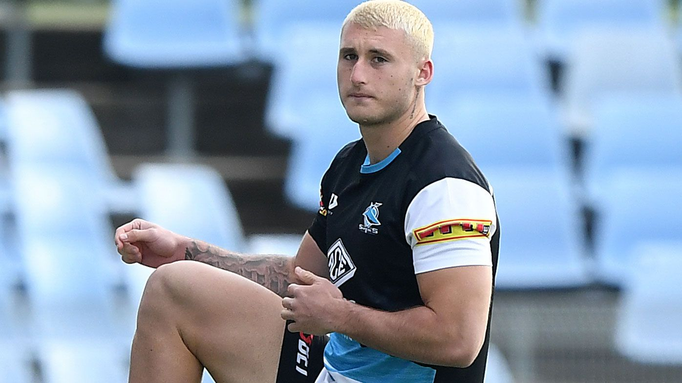 Bronson Xerri of the Sharks during an NRL training session
