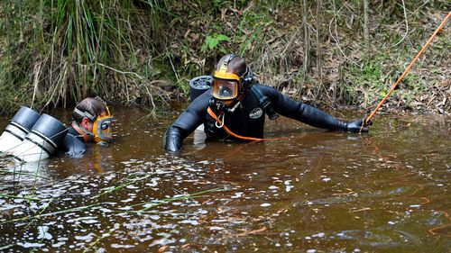 NSW Police divers search a dam as the search continues for evidence of missing boy William Tyrrell, on day three, near Bonny Hills on the NSW mid-north coast, Wednesday, March 4, 2015.