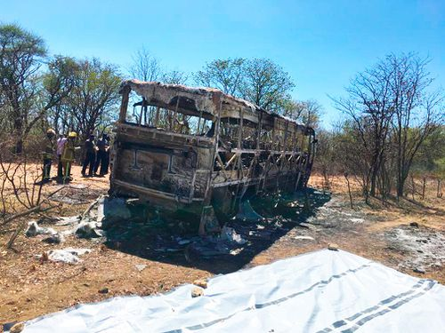 A photograph posted on Twitter by the Zimbabwe Red Cross shows the remains of the bus that was completely incinerated late Thursday.