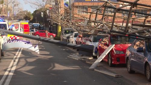 The aftermath of a scaffolding collapse on the NSW Central Coast.