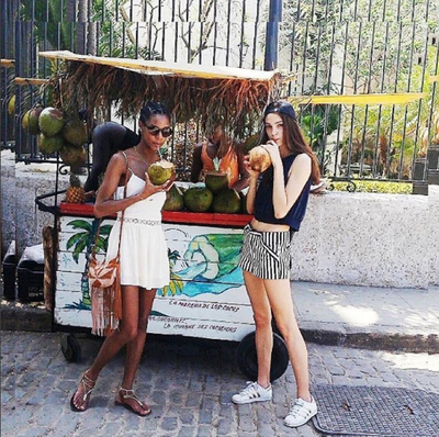 Models Karly Loyce and Camille Hurel hydrated, the Cuban way.