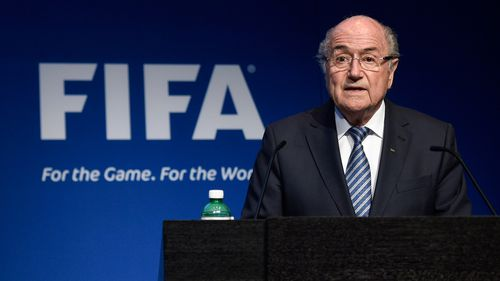 Mr Blatter announced he will step down as FIFA president at a press conference in Switzerland. (AAP)