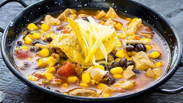 Chicken and black bean tortilla soup
