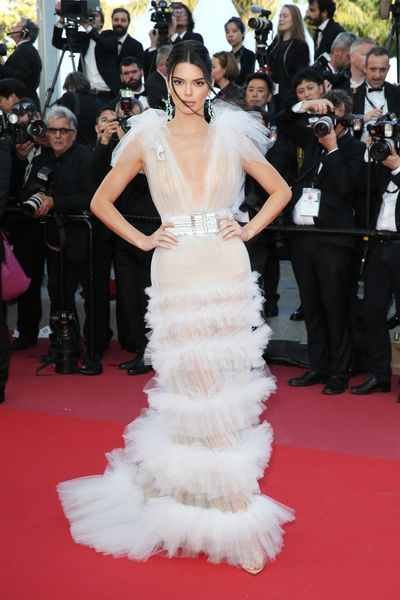 Model Kendall Jenner inSchiaparelli Haute Couture at the screening of 'Girls Of The Sun' during the 71st annual Cannes Film Festival, May, 2018