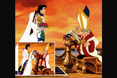 <b>The scandal:</b> In another  Little Mermaid controversy, the priest performing the marriage of the Prince and the evil Ursula-in-disguise was purposely drawn to appear 'aroused'. <br/><b>But did it really happen?</b> Nope. Disney says this is simply his knee protruding, and in the very next frame, you can clearly see the midget-like minister's two pointy knees side-by-side.
