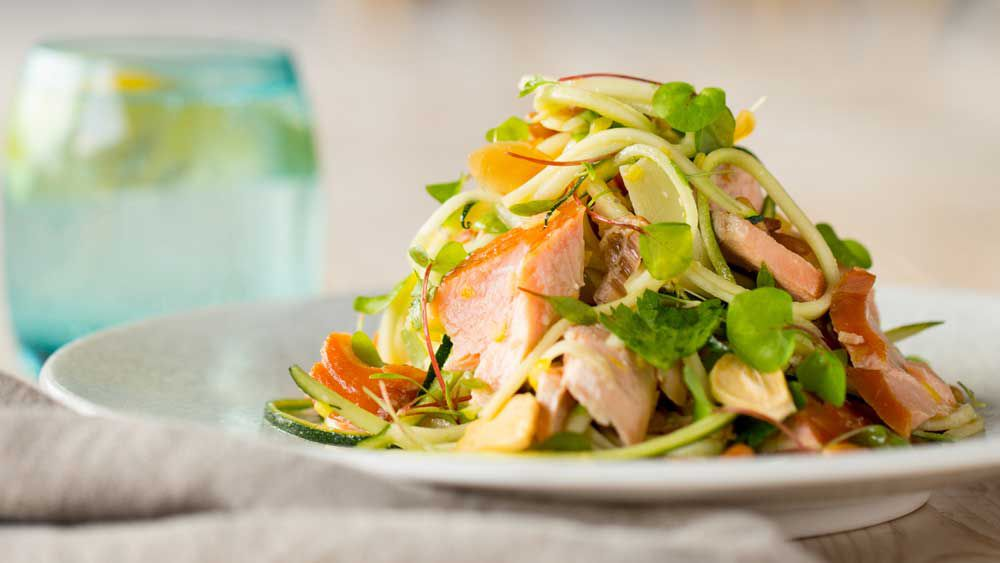 wood roasted salmon with zucchini noodle, pine nuts and Parmesan recipe for Huon