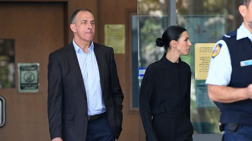 Sara Huegill (right) and her father Andrew Hill, leave the Byron Bay courthouse.