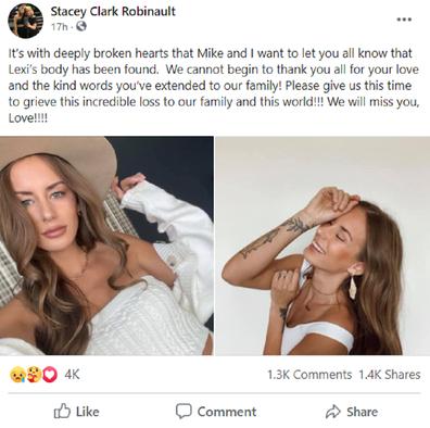 Alexis Sharkey mother Facebook post