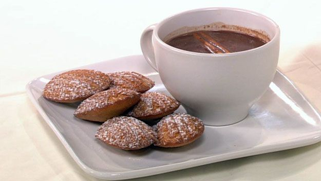 Decadent hot chocolate with honey and cinnamon madelines