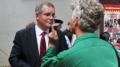 <p>Mr Morrison is confronted by Mark Goudkamp from Refugee Action Coalition following the official opening of Harmony Day in Sydney on February 17, 2011.</p>