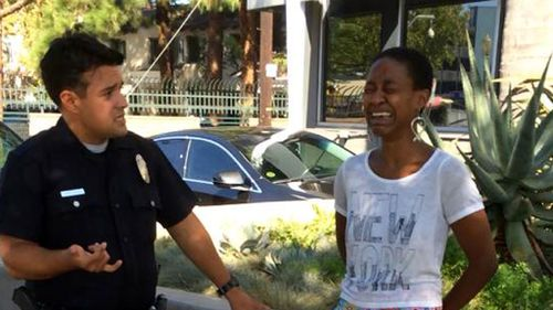 Django Unchained actress Daniele Watts during her arrest. (Supplied)
