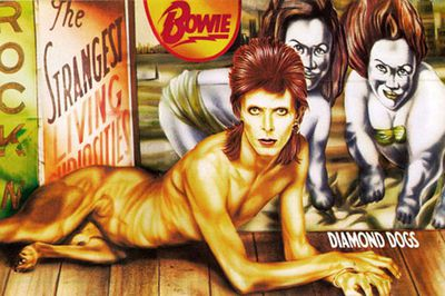 Bowie's doggie manhood (doghood?) was quickly airbrushed from the <i>Diamond Dogs</i> artwork. If you can find a copy with the original bits intact - you're gonna make a mint! Yay doggie bits!