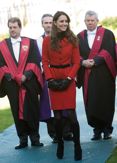 The Duchess first wore this eye-catchingLuisa Spagnoli suit on a visit to her old stomping ground St Andrew's University alongside Prince William, in 2011.