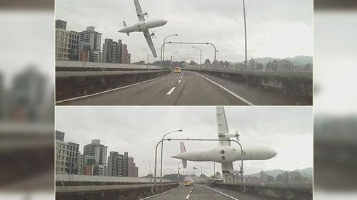 A dashcam pictures the plane flying lower over a bridge in Taipei before crashing in the river. (Supplied)