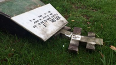 As many as 76 gravestones were damaged. (Picture: Mimi Becker, 9NEWS)