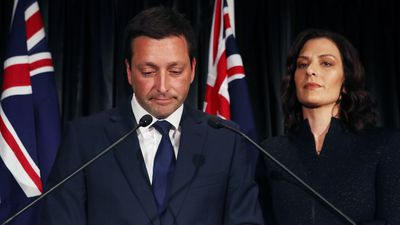 Leader of the Victorian Liberal party Matthew Guy and wife Renae announce defeat.