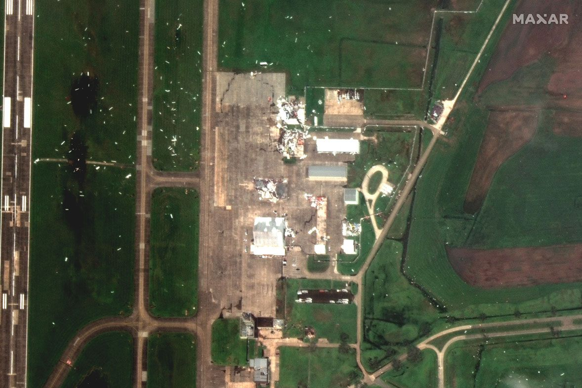 This Aug. 27, 2020, satellite photo provided by Maxar Technologies shows a close-up view of Lake Charles Regional Airport, in Lake Charles, La., after Hurricane Laura