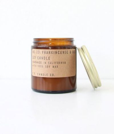 "PF Candle Co. Frankincense and Oud $70 from <a href=""https://thecandlelibrary.com/products/frankincense-oud?variant=17066156291"" target=""_blank"" draggable=""false"">The Candle Library</a>"