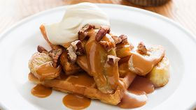Banana waffles with warm butterscotch sauce