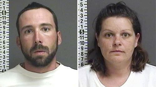 File photos provided by the Cass County Sheriff's Office in Fargo, North Dakota, shows William Hoehn, and his girlfriend Brooke Crews, the two people charged in connection with the murder of Savanna Greywind in August 2017.