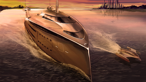 A rendering for the Cobra concept, a new superyacht design that's powered by re-purposed jet engines.