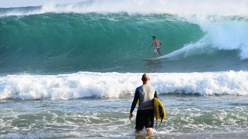 Up to 50 rescues were made at beaches on the Gold Coast and Sunshine Coast over the weekend of swimmers and surfers unable to cope with the strong swells (AAP).