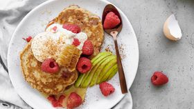 Raspberry and pear pancake recipe