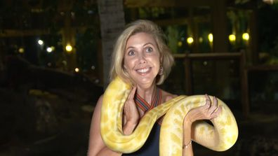 Getaway Rewind: Catriona Rowntree freaks out while holding a python