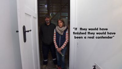 """Despite an unfinished bathroom, everyone thought that Clint and Hannah's bathroom showed promise. """"I think if they would have finished they would have been a real contender,"""" Jason said of Hannah and Clint's bathroom."""