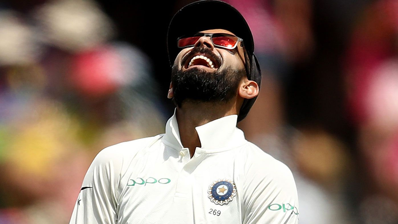 Virat Kohli of India reacts in the field during day three of the Fourth Test match in the series between Australia and India