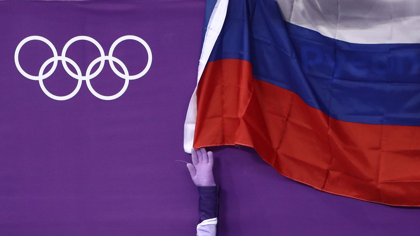 Russian national flag seen during the 2018 Winter Olympics