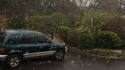 Snow falling in Mount Victoria, NSW.