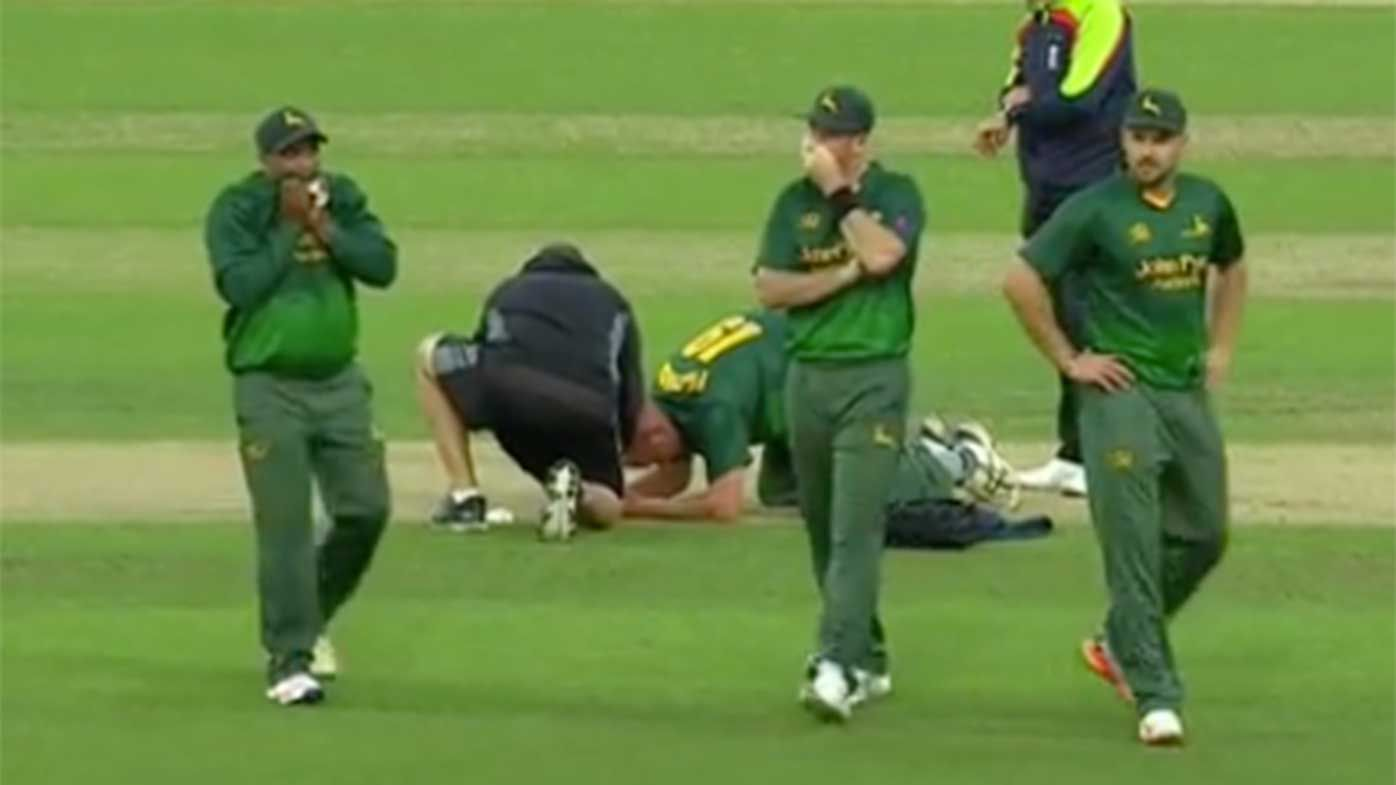 English bowler Luke Fletcher cops sickening blow to the head