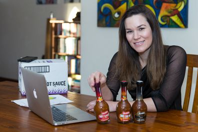 """Renae Bunster's """"S*** the bed"""" hot sauce goes public."""