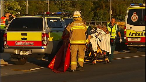 The man was rushed to hospital with severe leg injuries. (9NEWS)