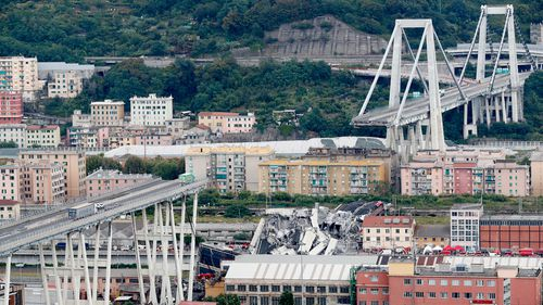 An aerial view shows the section of the Genoa motorway bridge that collapsed.