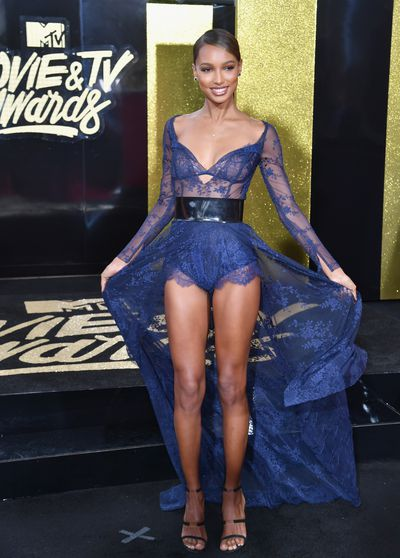Victoria's Secret angel Jasmine Tookes in Maison Lethicia at the 2017 MTV Movie & TV Awards in Los Angeles